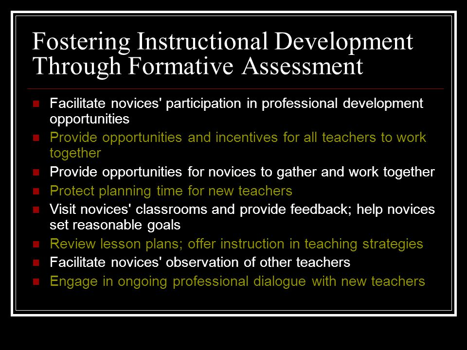 Fostering Instructional Development Through Formative Assessment