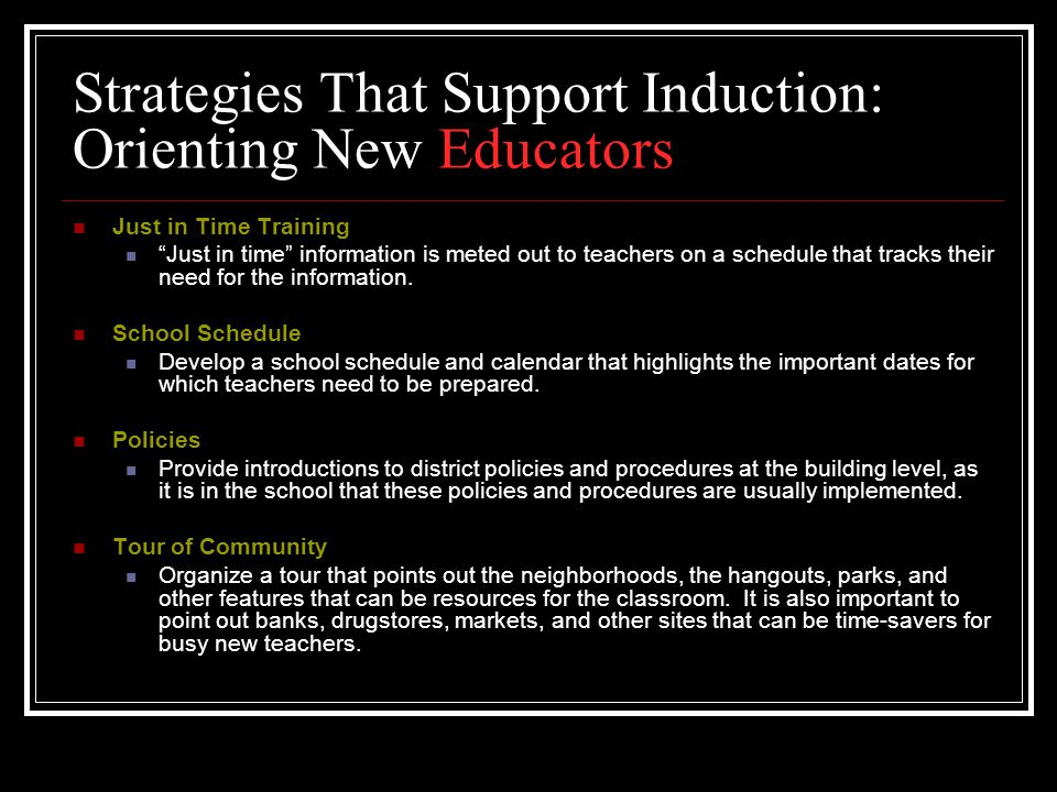 Strategies That Support Induction: Orienting New Educators