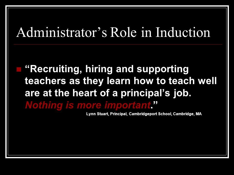 Administrator's Role in Induction