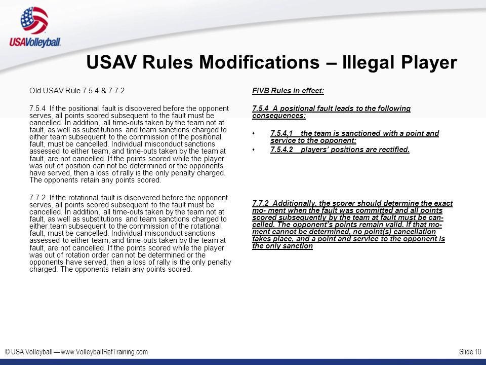 USAV Rules Modifications – Illegal Player