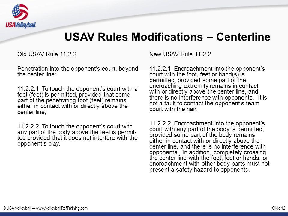 USAV Rules Modifications – Centerline