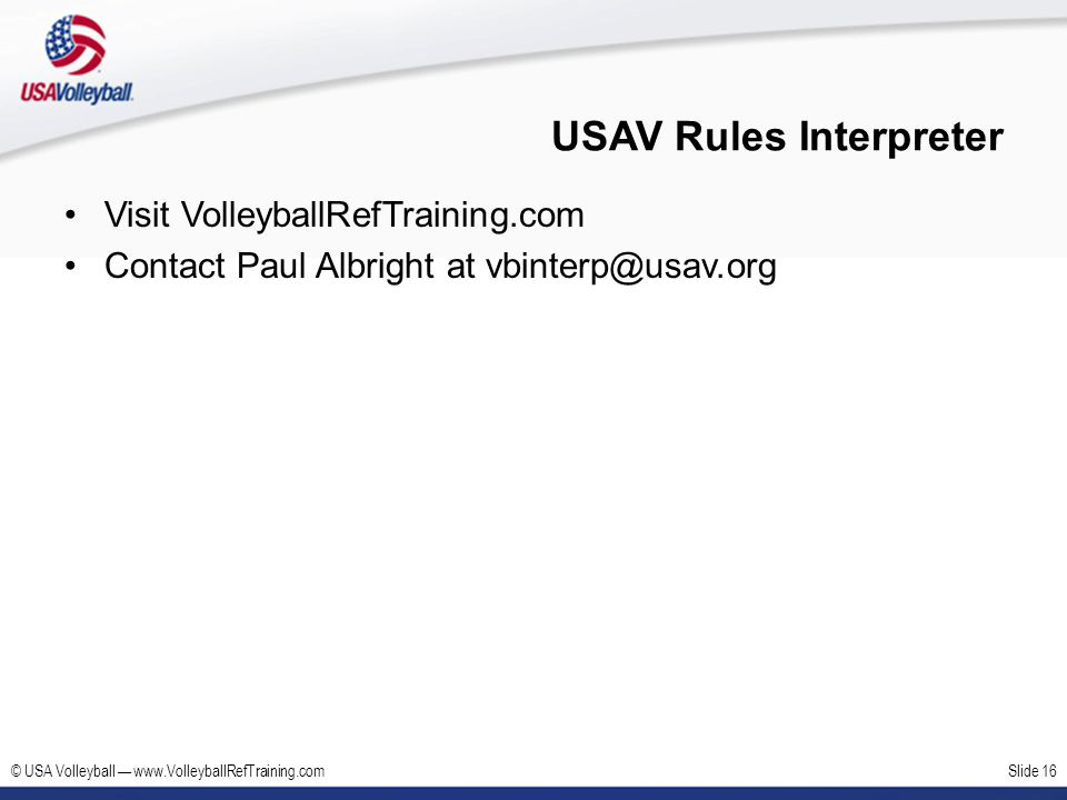 USAV Rules Interpreter