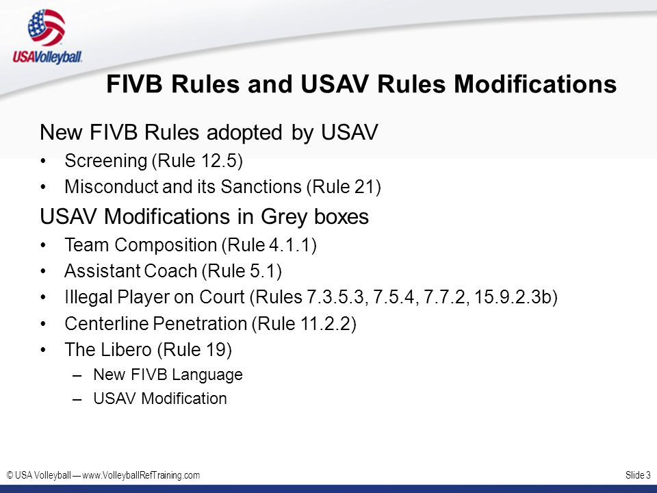 FIVB Rules and USAV Rules Modifications
