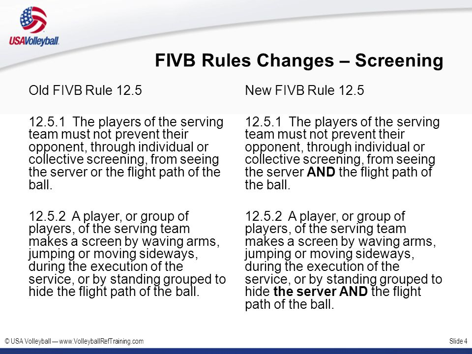 FIVB Rules Changes – Screening