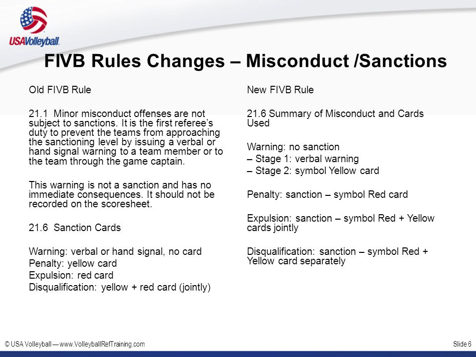 FIVB Rules Changes – Misconduct /Sanctions