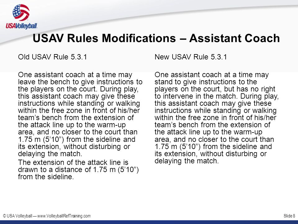 USAV Rules Modifications – Assistant Coach