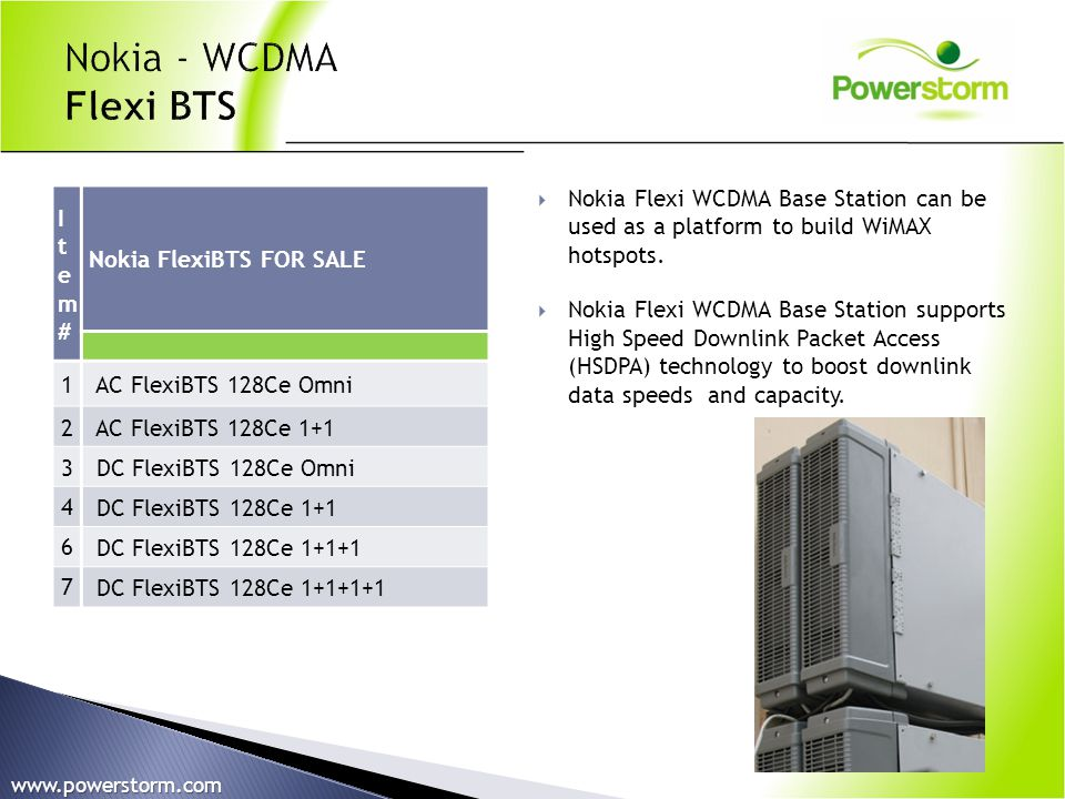 Nokia - WCDMA Flexi BTS Nokia Flexi WCDMA Base Station can be used as a platform to build WiMAX hotspots.
