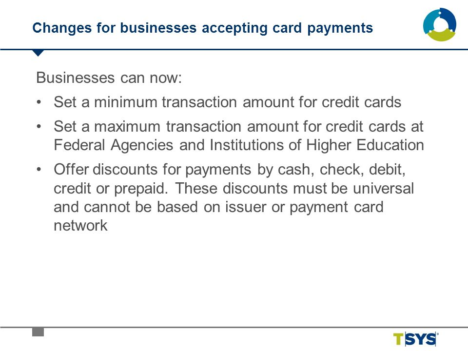 Changes for businesses accepting card payments