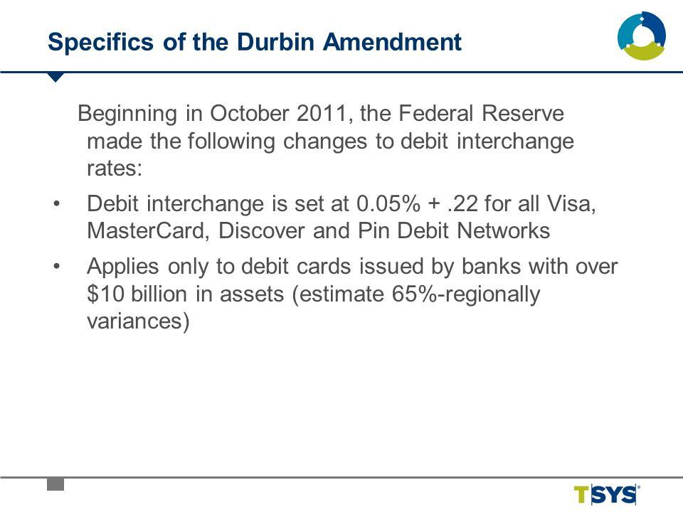 Specifics of the Durbin Amendment