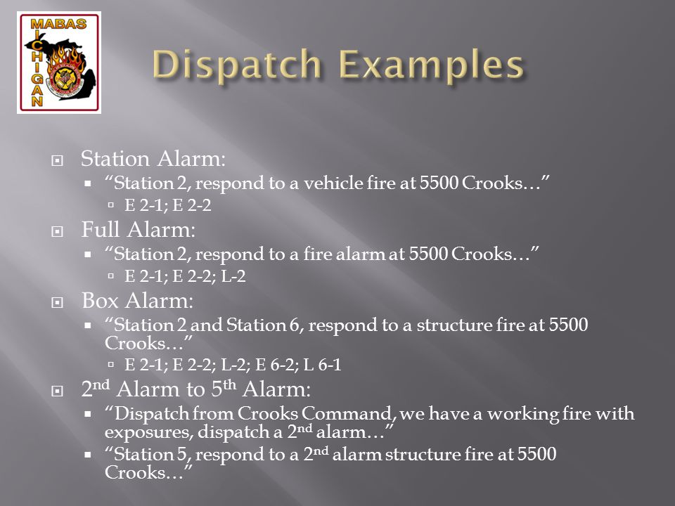 Dispatch Examples Station Alarm: Full Alarm: Box Alarm: