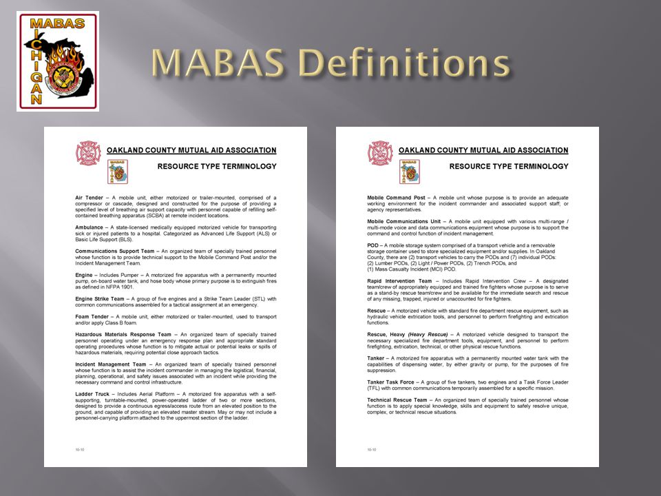 MABAS Definitions