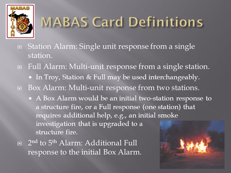MABAS Card Definitions