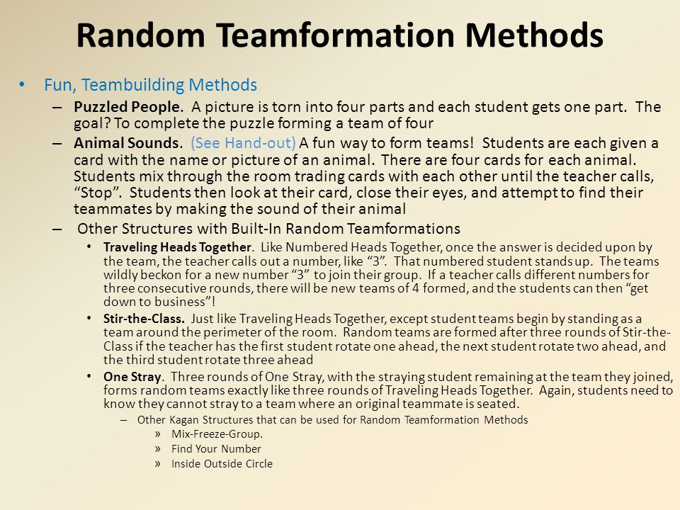 Random Teamformation Methods