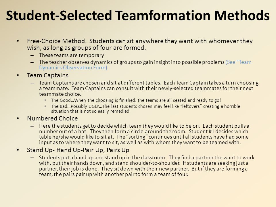 Student-Selected Teamformation Methods