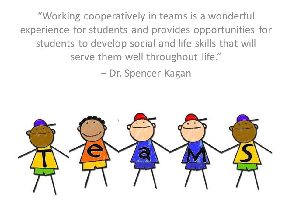 Working cooperatively in teams is a wonderful experience for students and provides opportunities for students to develop social and life skills that will serve them well throughout life.