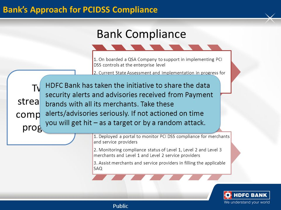 Bank's Approach for PCIDSS Compliance