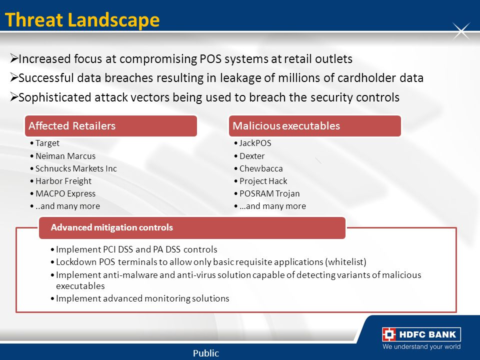 Threat Landscape Increased focus at compromising POS systems at retail outlets.