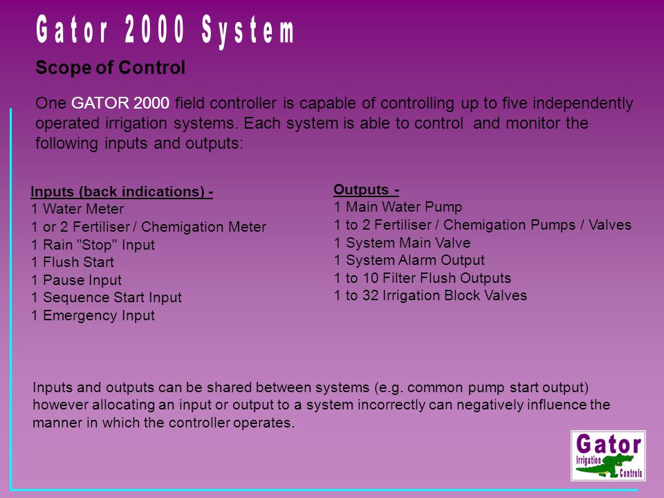 Gator 2000 System Scope of Control