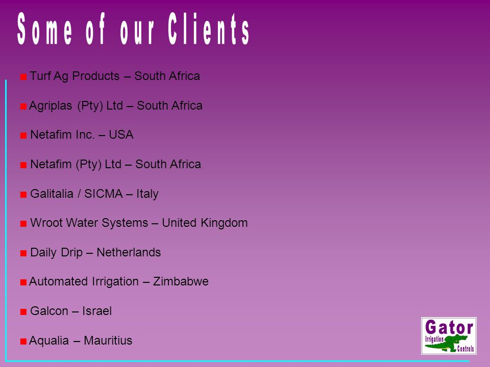 Some of our Clients Turf Ag Products – South Africa
