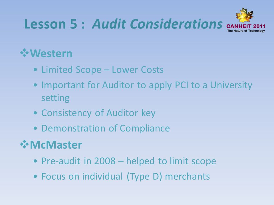 Lesson 5 : Audit Considerations