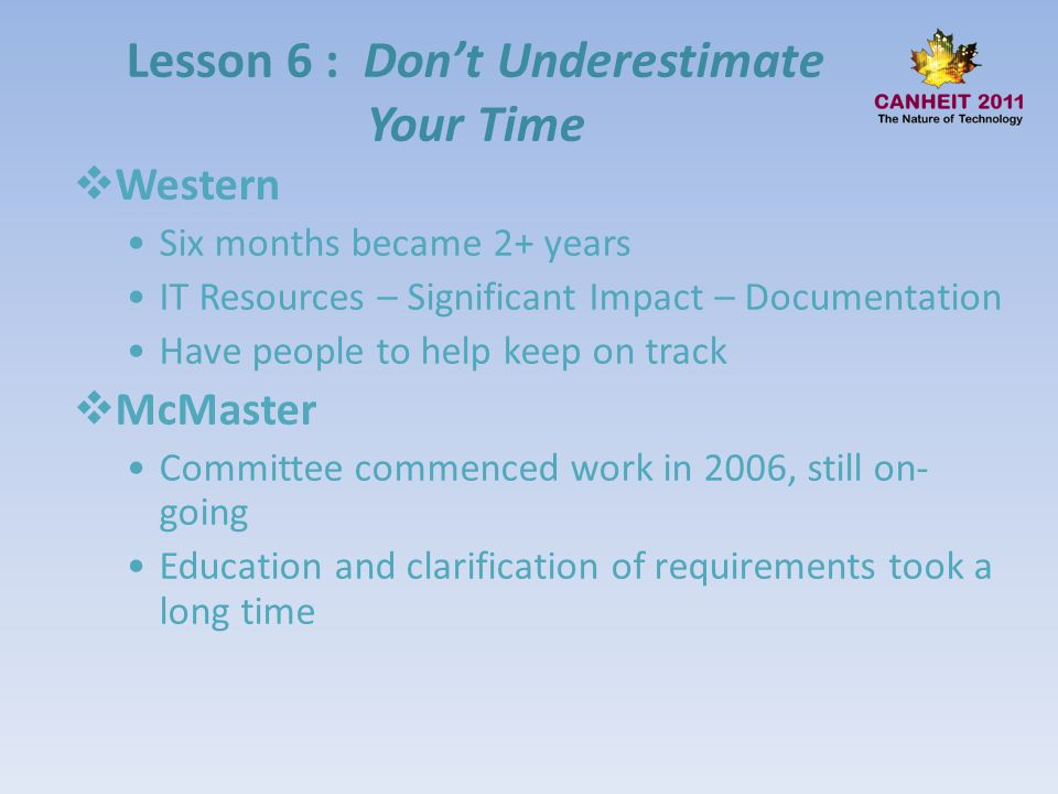 Lesson 6 : Don't Underestimate Your Time