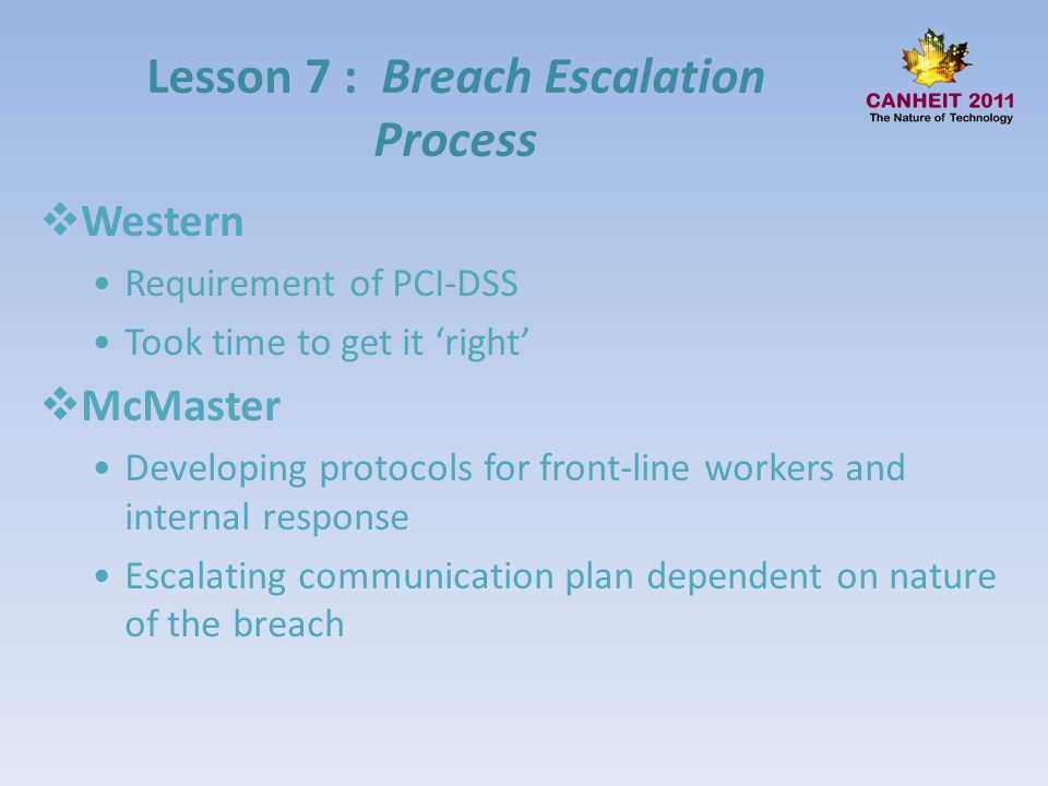 Lesson 7 : Breach Escalation Process