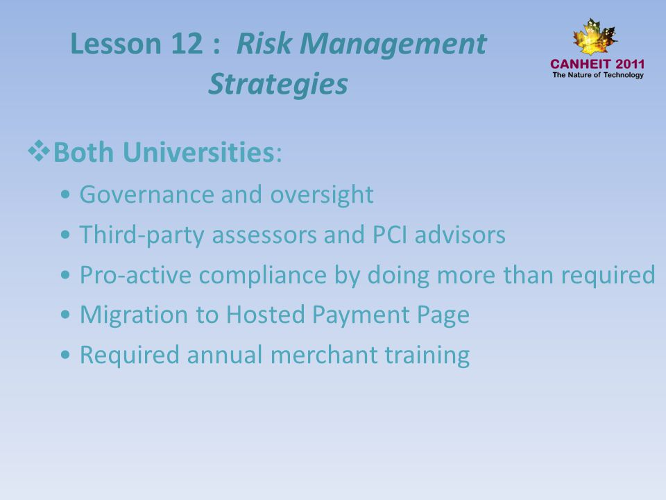 Lesson 12 : Risk Management Strategies