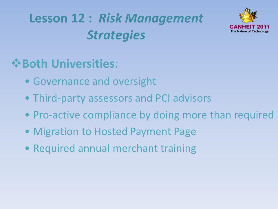 Lesson 12 : Risk Management Strategies