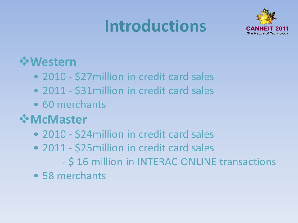 Introductions Western McMaster 2010 - $27million in credit card sales