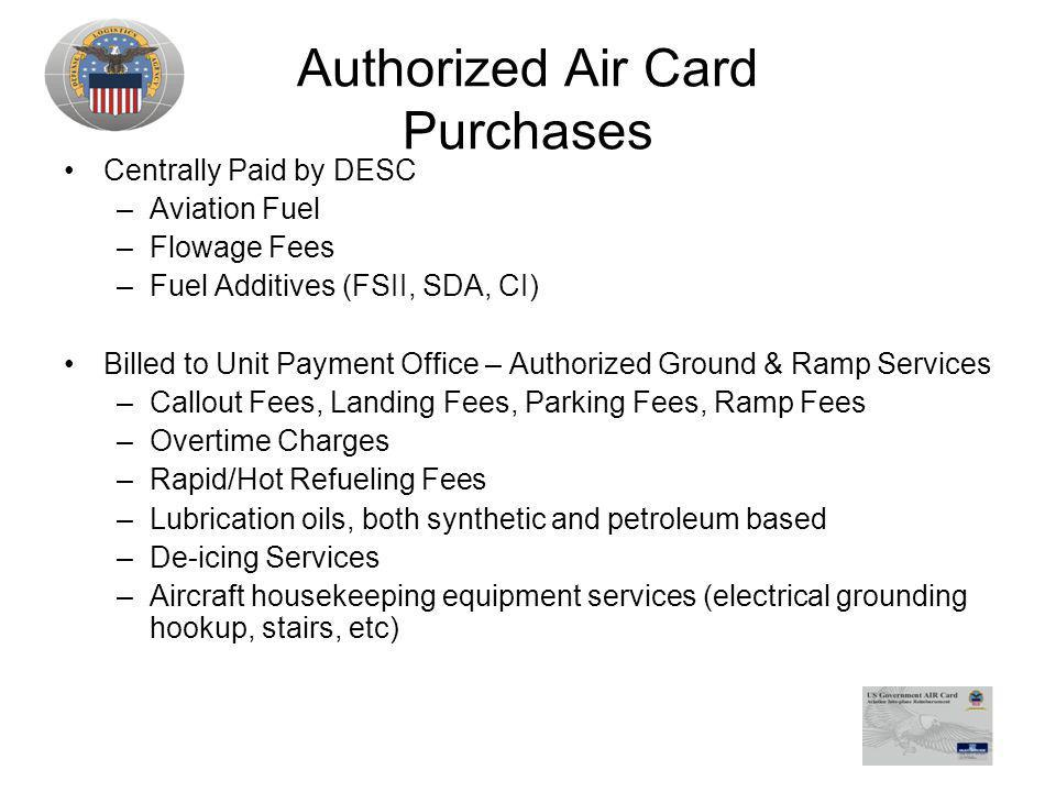 Authorized Air Card Purchases
