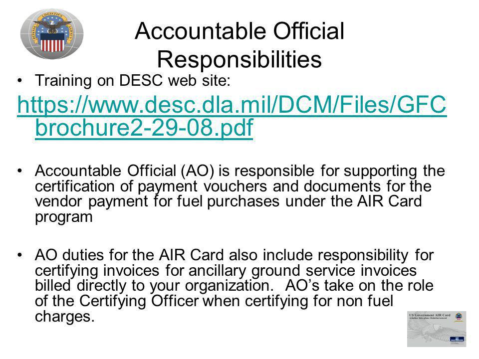 Accountable Official Responsibilities