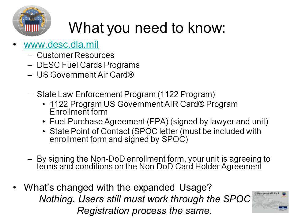 What you need to know: www.desc.dla.mil