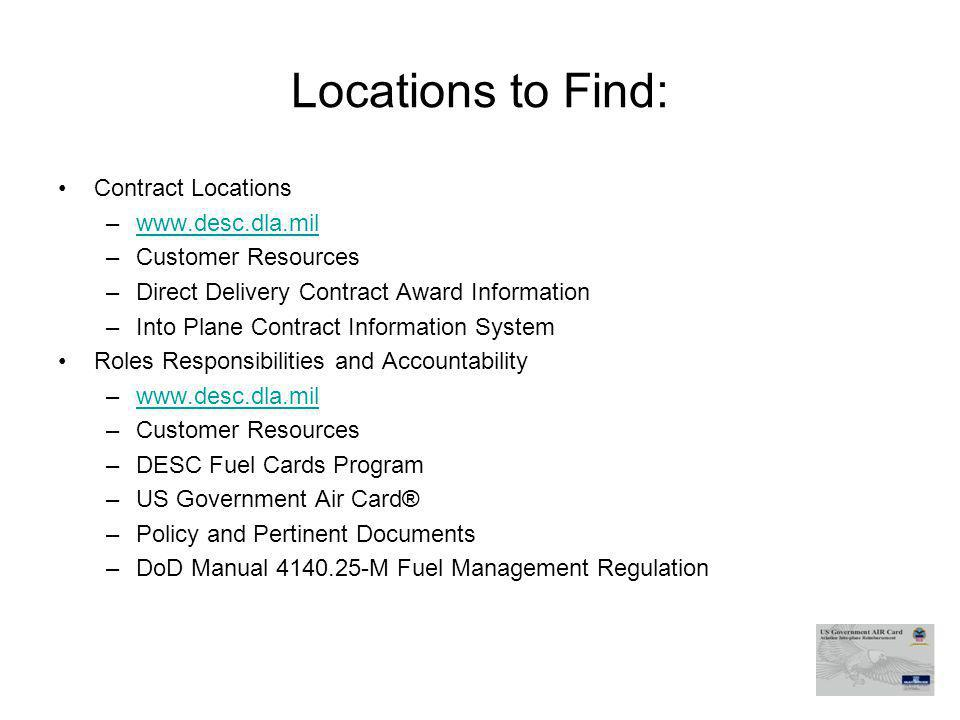 Locations to Find: Contract Locations www.desc.dla.mil