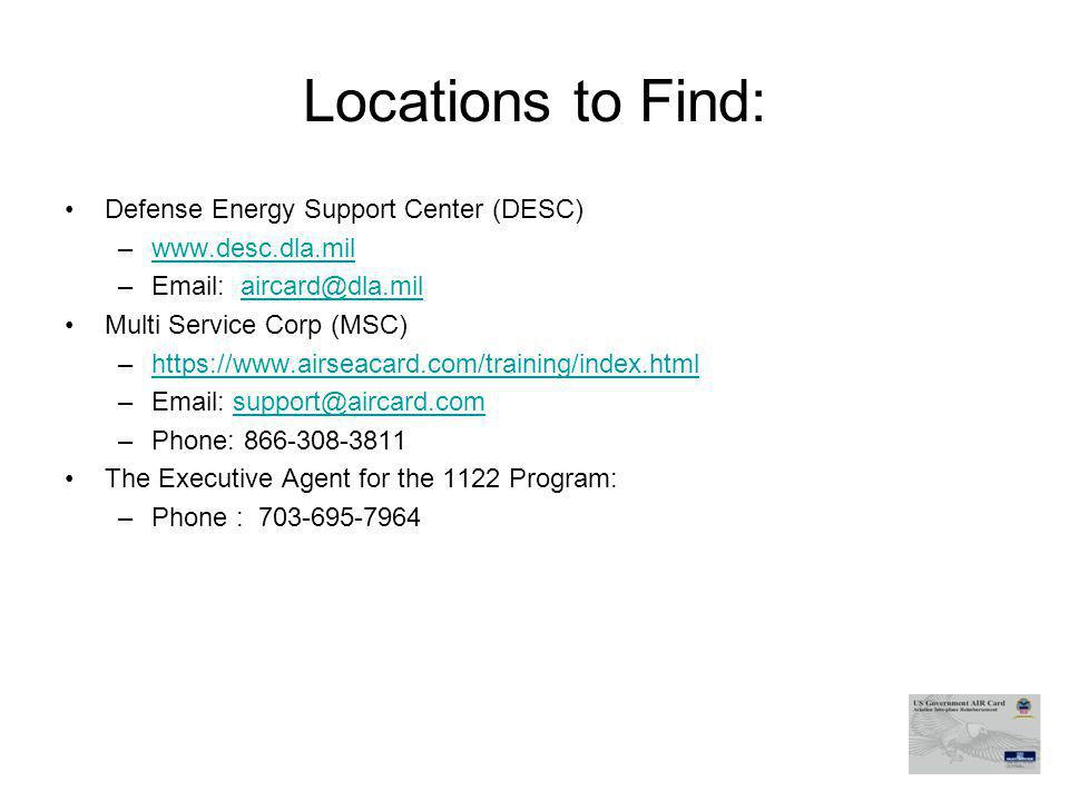 Locations to Find: Defense Energy Support Center (DESC)