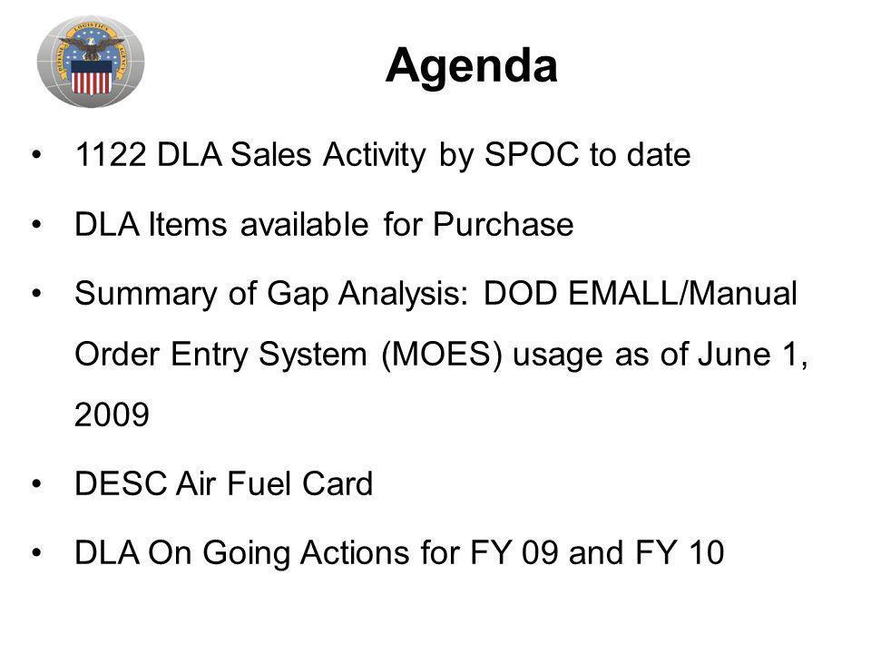 Agenda 1122 DLA Sales Activity by SPOC to date