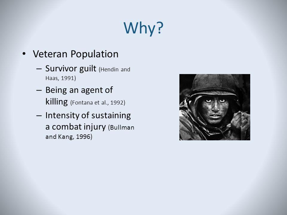 Why Veteran Population Survivor guilt (Hendin and Haas, 1991)
