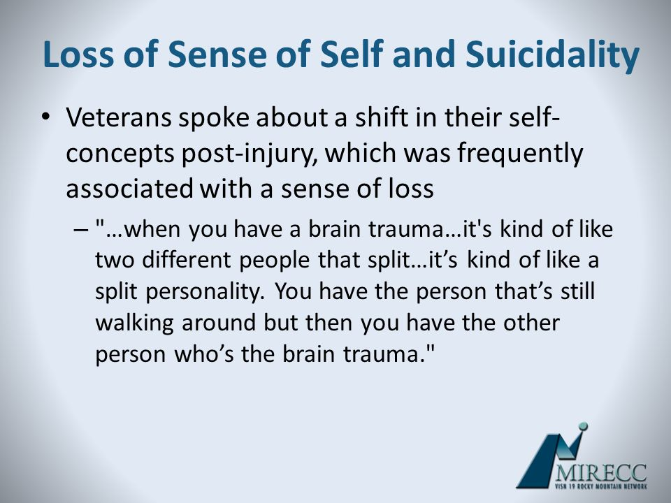 Loss of Sense of Self and Suicidality