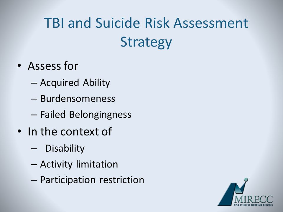 TBI and Suicide Risk Assessment Strategy