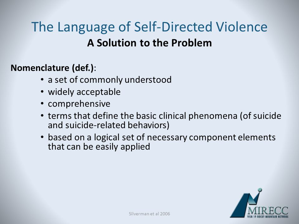 The Language of Self-Directed Violence A Solution to the Problem