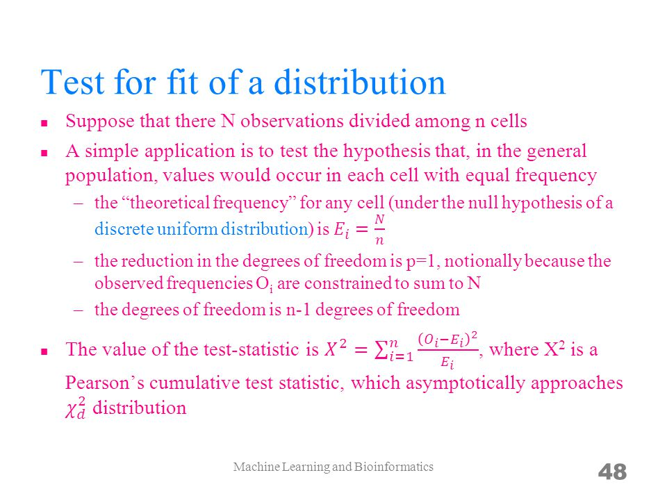 Test for fit of a distribution
