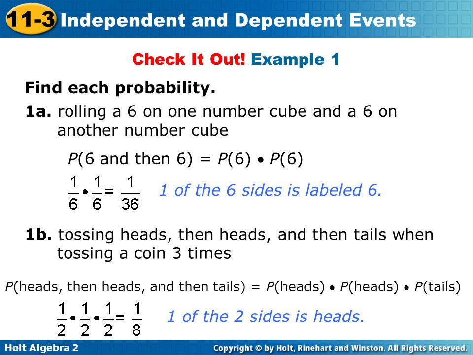 1a. rolling a 6 on one number cube and a 6 on another number cube