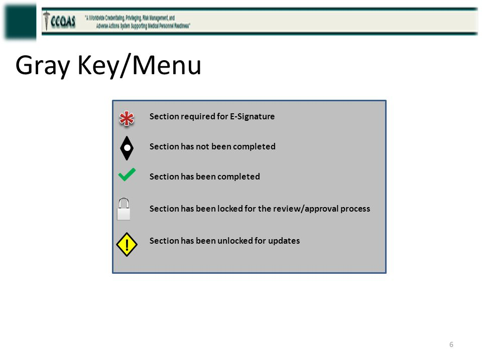 * Gray Key/Menu ! Section required for E-Signature