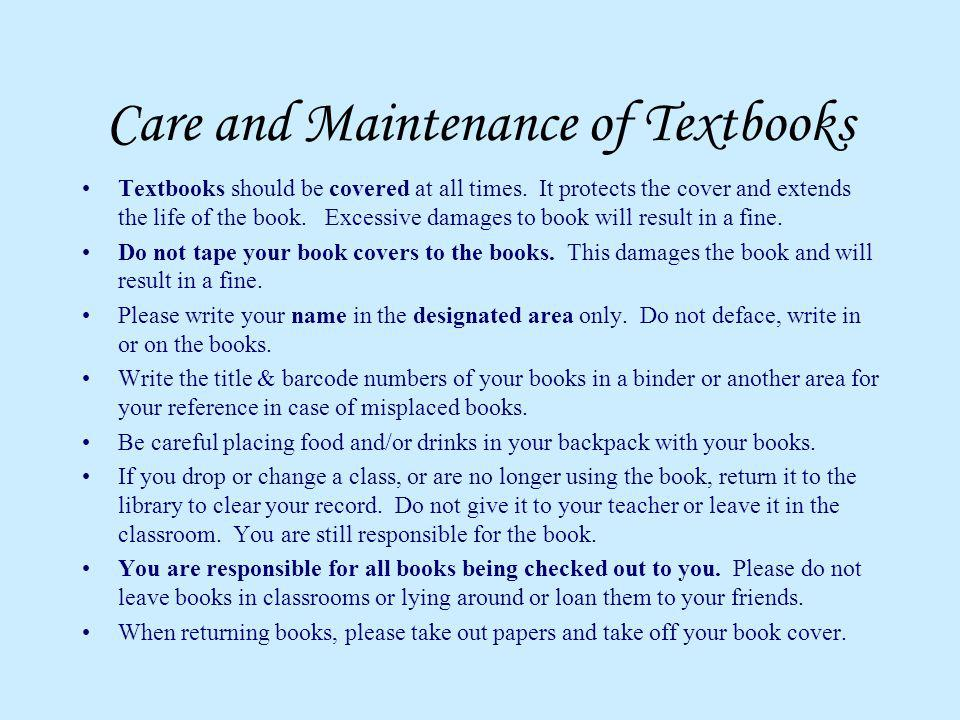 Care and Maintenance of Textbooks