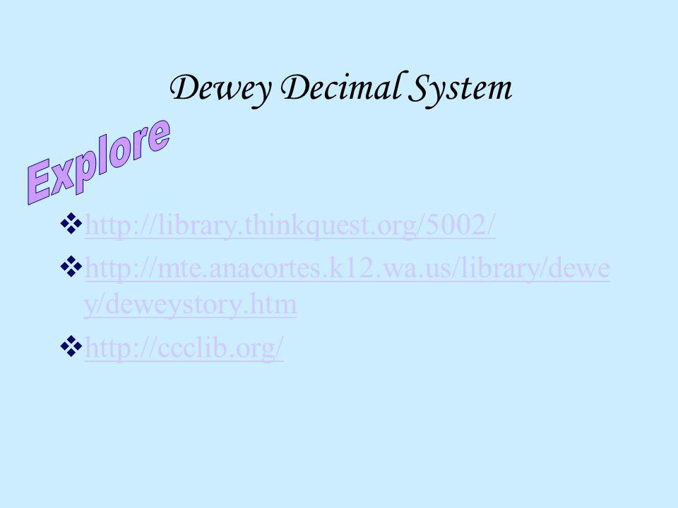 Dewey Decimal System Explore http://library.thinkquest.org/5002/