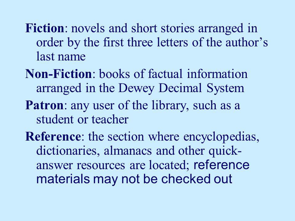 Fiction: novels and short stories arranged in order by the first three letters of the author's last name