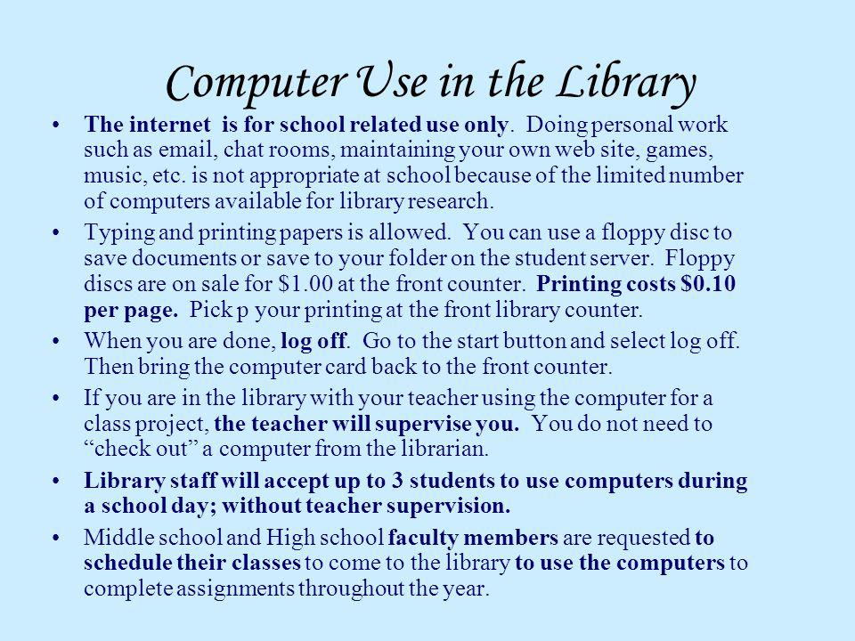 Computer Use in the Library
