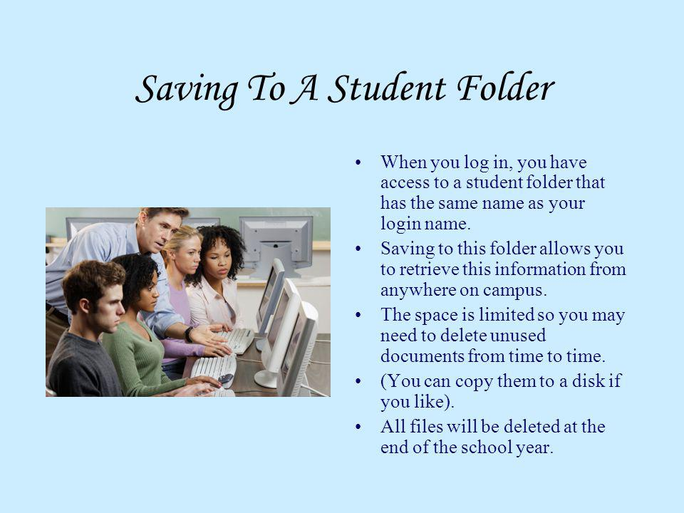 Saving To A Student Folder