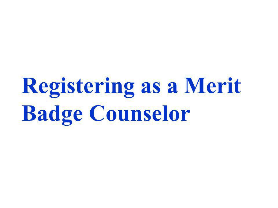 Registering as a Merit Badge Counselor