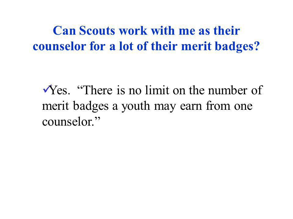 Can Scouts work with me as their counselor for a lot of their merit badges