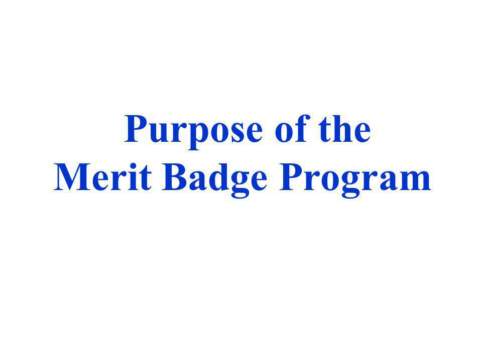 Purpose of the Merit Badge Program